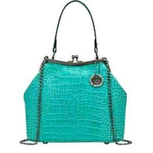Patricia Nash Laureana Aqua Croc Leather Satchel